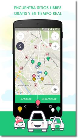 Aplicación para buscar lugar de aparcamiento Wazypark