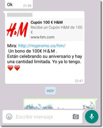 Cuidado con lo cupones por Whastapp, como este de H&M de 100 euros