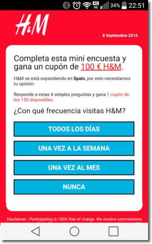 Cuidado con lo cupones por Whatsapp, como este de H&M de 100 euros