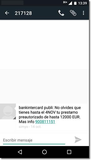 Cuidado con los préstamos preconcedidos por SMS