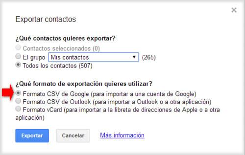 Cómo trasladar nuestros contactos entre cuentas Gmail