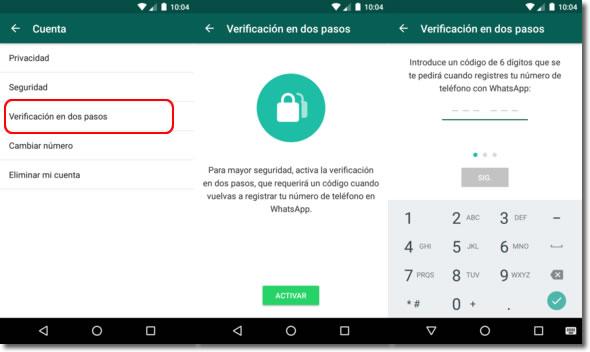Whatsapp también incluye la verificación en dos pasos