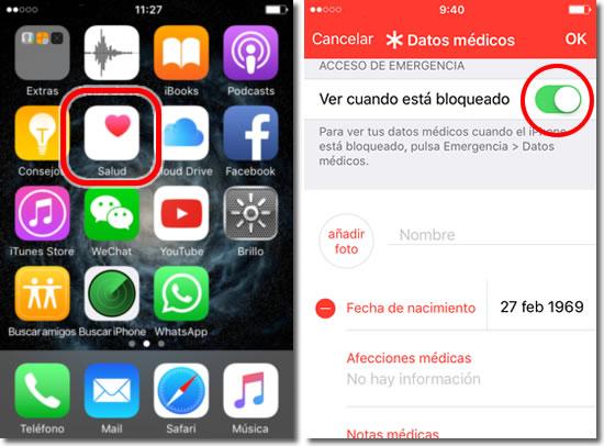 Muestra tus datos de emergencia aun con el bloqueo de pantalla