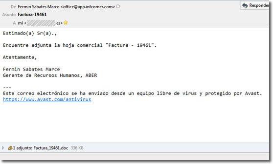 Cuidado con los adjuntos tipo Word en los correos electrónicos
