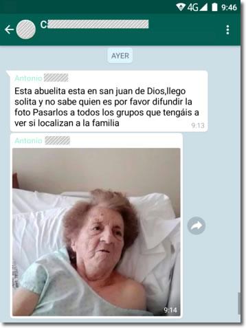 No, no existe la abuelita en San Juan de Dios, es otro bulo