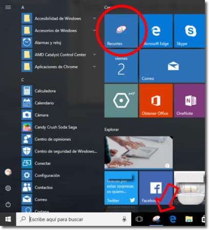 Recortes es la herramienta de Windows para hacer capturas de pantalla