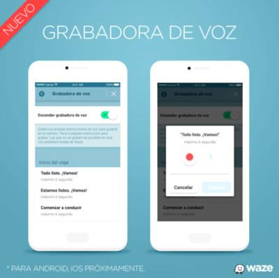El navegador Waze permite grabar las instrucciones con nuestra voz
