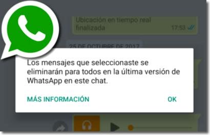 Whatsapp permite borrar mensajes después de enviarlos