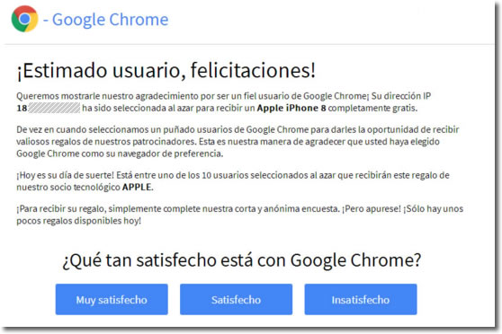 felicidades usuario de amazon a ganado un regalo chrome