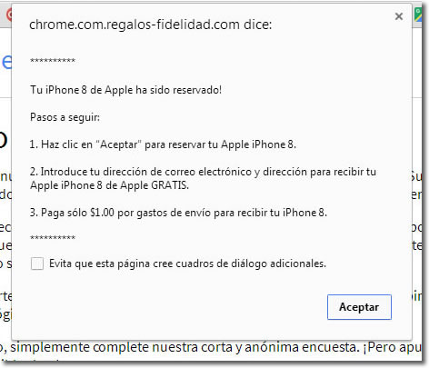 Google Chrome no regala un iPhone, es una estafa