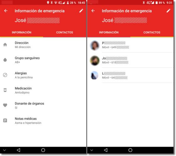 Información de emergencia en la pantalla de bloqueo de Android o iPhone