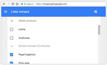 Crea la lista de la compra en Google y compártela con quien quieras
