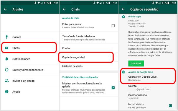 Google Drive borrará las copias de seguridad de Whatsapp antiguas
