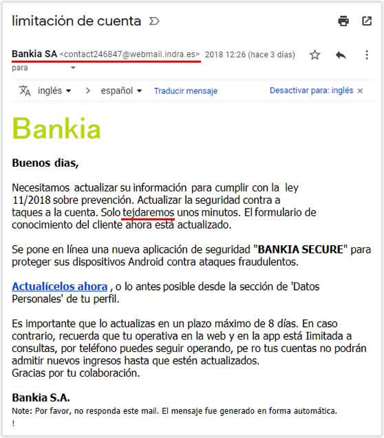 Campaña tipo phishing suplantando la identidad de Bankia