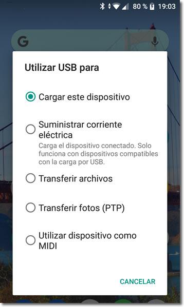 Modos de conectar un Android por USB al ordenador y para qué sirven