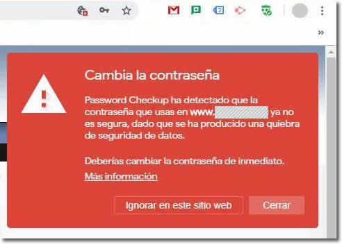 Password checkup es una extensión de Google nos avisa si nuestra cuenta ha sido hackeada