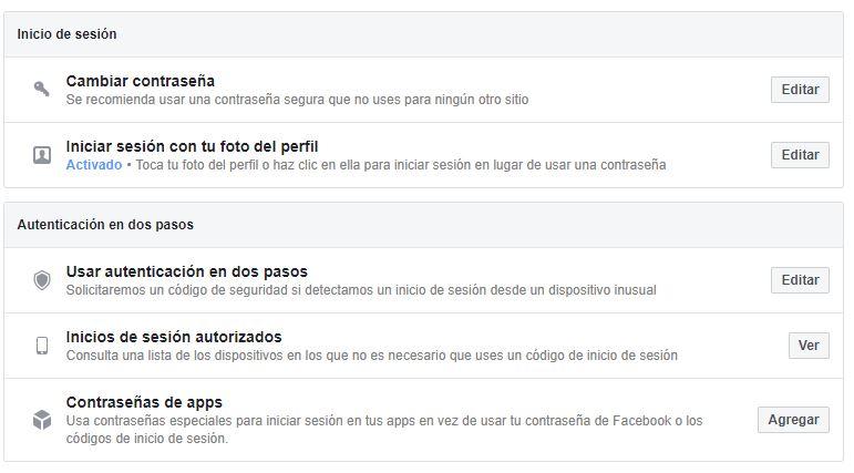 cambiar las contraseñas de facebook