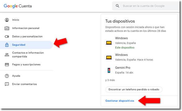 Cómo saber si están usando nuestra cuenta de Google en otro dispositivo