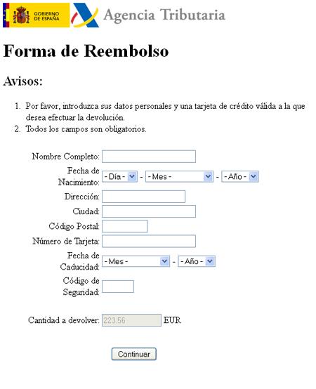 datos bancarios phishing renta