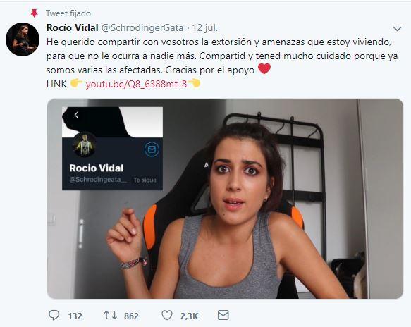 Rocío Vidal advierte en twitter del robo de cuentas en redes sociales