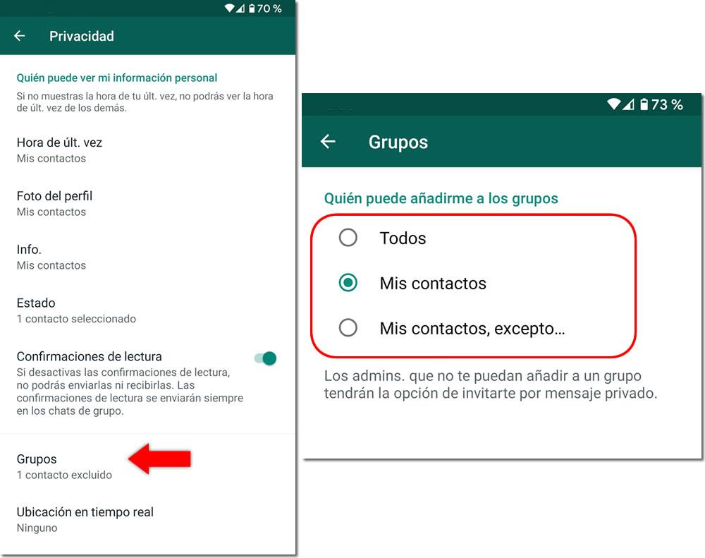 Opciones privacidad grupos