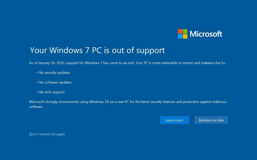 windows 7 ya no recibe actualizaciones