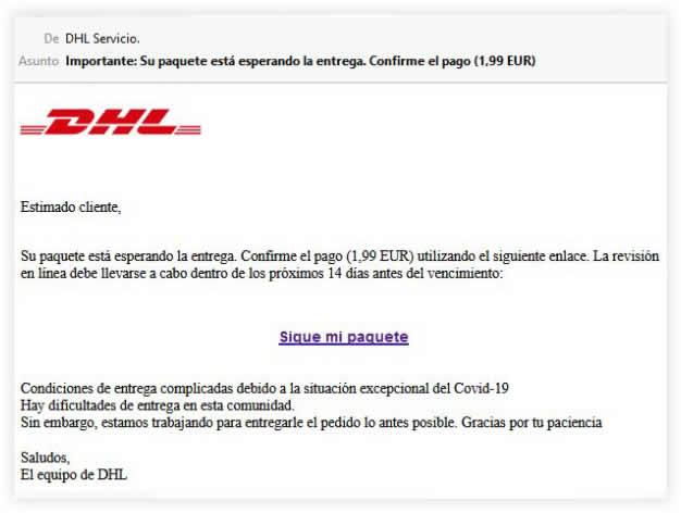 Mensaje falso de DHL