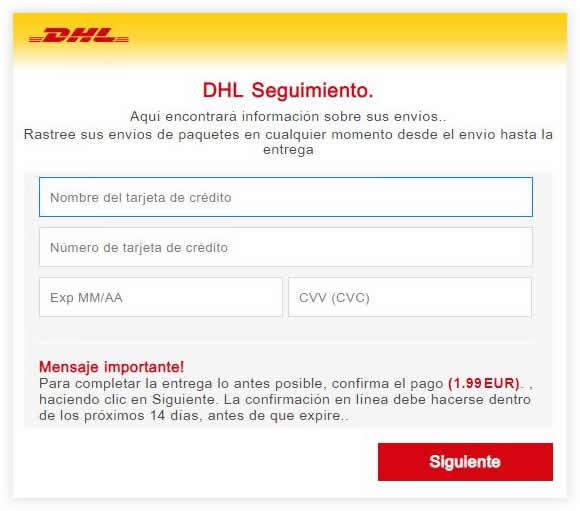 Estafa phishing DHL