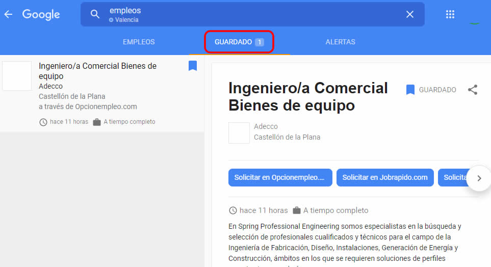 Guardado en Google empleo