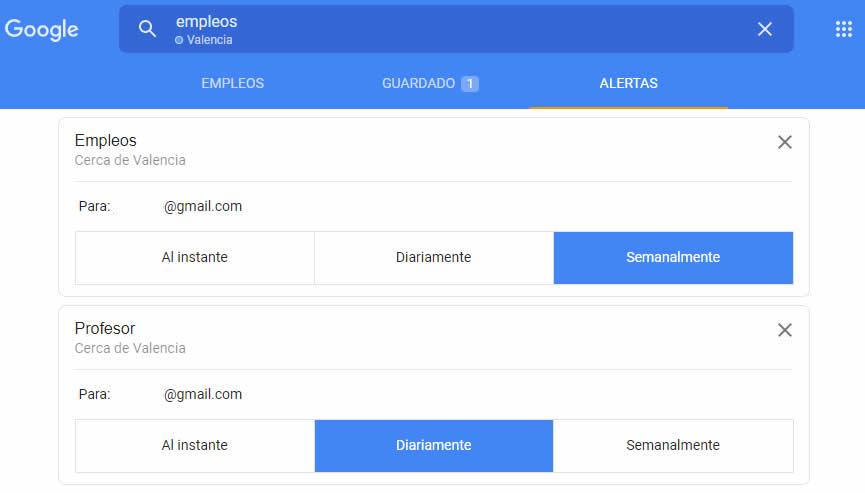 Configuración de alertas en Google empleo