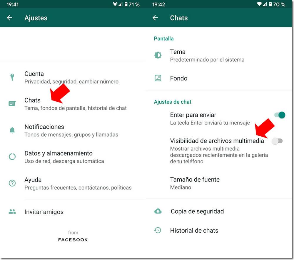 Visibilidad archivos multimedia en Whatsapp