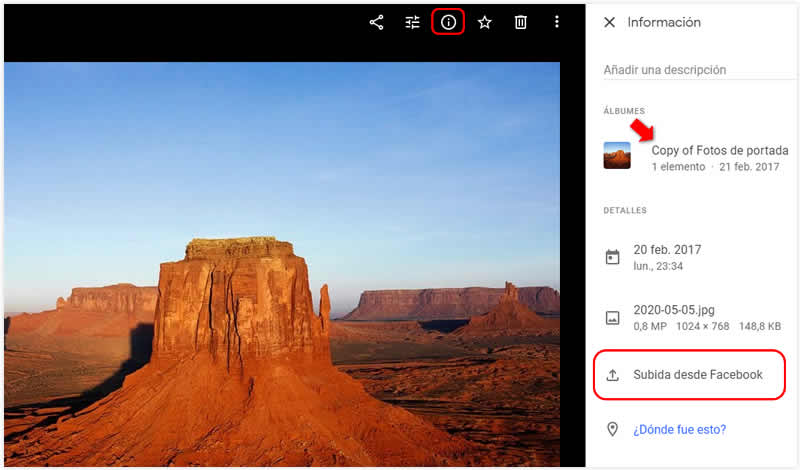 Comprobar en Google Fotos