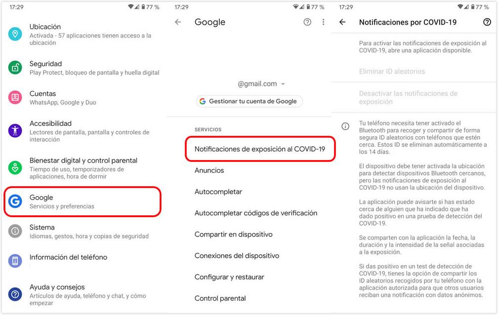 Notificaciones de exposición al Covid-19 en Android