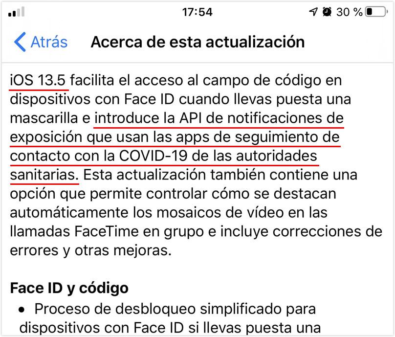 Notificaciones de exposición al Covid-19 en iOS