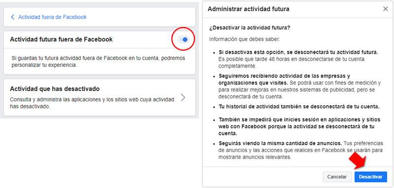 Desactivar actividad futura de Facebook