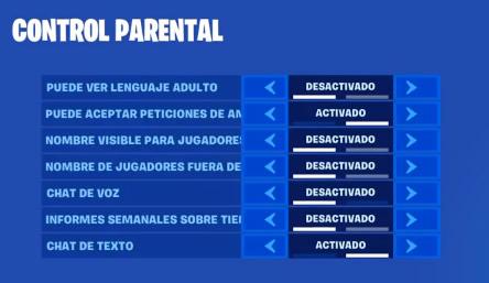 Control parental Fortnite