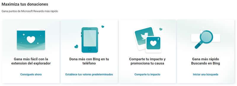 Donaciones Bing