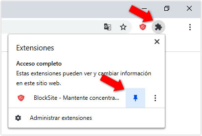 Configurar extensión BlockSite