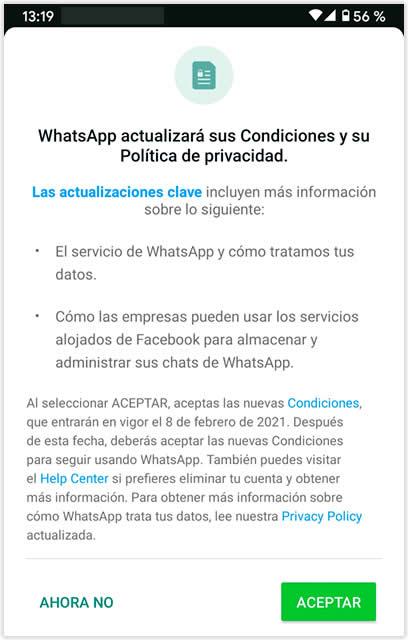 Nueva privacidad Whatsapp