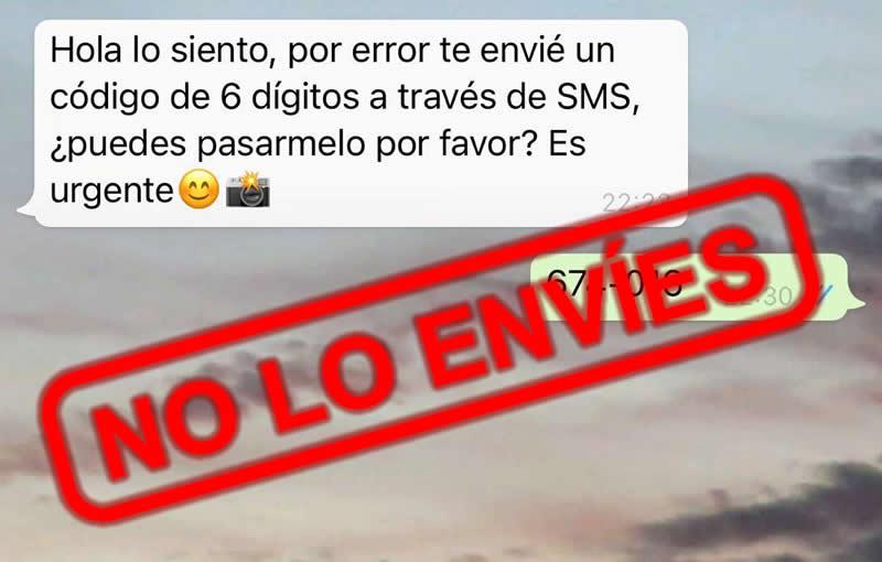 No envíes el código del Whatsapp