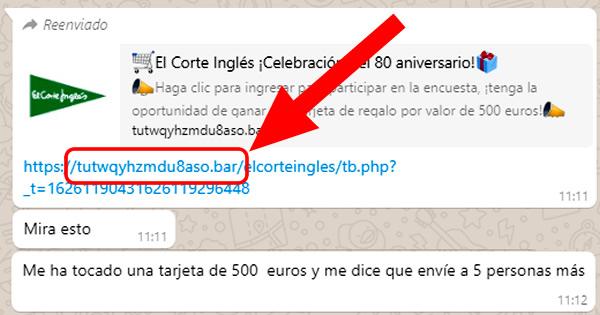 Engaño phishing El Corte Inglés